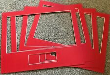 4 RED PICTURE FRAME MOUNTS 46.5CM X 37CM WITH 40CMX23CM AND TEXT BOX APERTURES