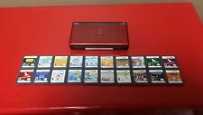 **Nintendo DS Lite Crimson & Black Handheld System + 20 Games - Tested / Working