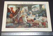 RARE GRAND CHROMO 1886 BON MARCHE BOUCICAUT PARIS ILLUSTRATEUR LEO HINGRE REVEIL