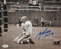 Y.A. Tittle Autographed 8x10 B&W On Knees Photo- JSA Authenticated