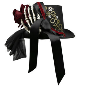 Top Hat Gothic White Skeleton Red Rose and Gear Bowknot