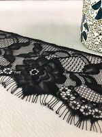 "Soft Lace Floral with Fringe Trim 3.5"" Wide  Black 2 Yards Precut"
