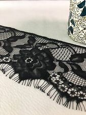 """Soft Lace Floral with Fringe Trim 3.5"""" Wide   Sold By The Yard   Black"""