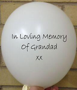 5 In Loving Memory of Grandad, White Rememberance, Funeral Wake Memorial Balloon