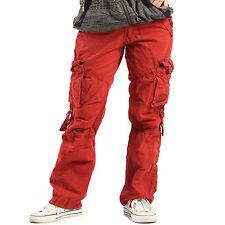 Womens Ladies Combat Casual Cargo Cotton Military Boyfriend Trousers Pants Jeans