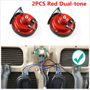 Universal 2Pcs Red 12V Loud Car Truck 105DB Dual-tone Snail Electric Air Horns