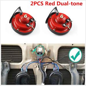 Universal 2Pcs Red 12V Loud Car Truck 105DB Dual-tone Snail Electric Air Horns