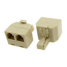 New Rj11 6P4C Male Plug 2 x Female Jack Phone Duplex Splitter Adapter Us Seller