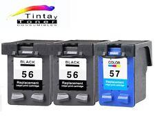 3 cartuchos Tinta para HP 56 57 XL Deskjet 450ci 5150 5550 5600 5650 5652 5850