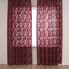 2Pc Polyester Sheer Curtain w/12 Metal Grommets Floral Window Curtain Drapers