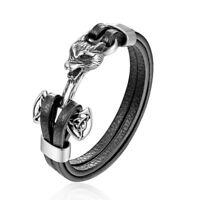 Mens Leather Viking Fenrir Wolf Head Bracelet, Silver Black Braided Wristband
