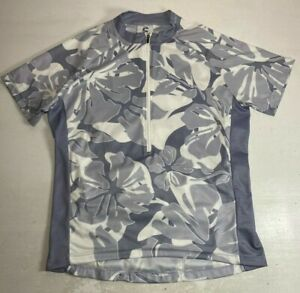 Vintage Cannondale Cycling Jersey Gray Floral Tropical 1/2 Zip Made USA | Size S