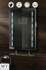 LED ILLUMINATED BATHROOM MIRROR WITH SHELF DEMISTER SHAVER SENSOR QUARTZ-WS