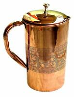 Pure Copper Embossed Water Jug Copper Pitcher for Ayurveda Health Benefit