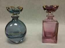 Vintage Italian Art Glass Perfume Bottle Flower Top ITALY - Lot of 2