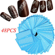 48 Sheets Nail Art Stickers White Lace Water Transfer Decals  DIY Manicure Decor