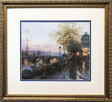 "Thomas Kinkade ""Paris, Eiffel Tower"" CUSTOM FRAMED Art Print PAINTER OF LIGHT"