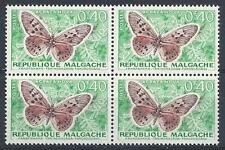Malagasy Malgache 1960 Sc# 307 Butterfly 40c block 4 MNH