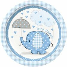 """73385 BLUE HEARTS 9/"""" Plates 8 Baby Shower Tableware Supplies Party Boy"""