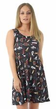 Mini Vestido Nueva camiseta para mujer fiesta de Halloween Negro-Estampado De Cruz De Vela Rosa 8-26