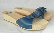 Urban Outfitters Kimchi Blue Women's Leather Strap Wood Sole Slides Sandals sz 9
