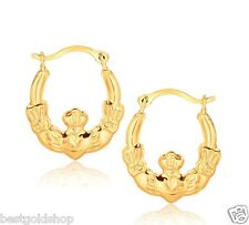 3D Small Claddagh Celtic Motif Hoop Earrings Real 10K Yellow Gold