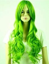 New Long Light Green Curly Women's Hair Cosplay Full Wig + gift cap AE177