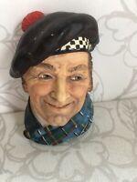 Great Vintage 1950s BOSSON CHALK HEAD SCOTSMAN Chalkware Jock Collectible