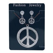 1960 signe de paix #hippy style collier avec boucles d'oreilles accessoire robe fantaisie SET