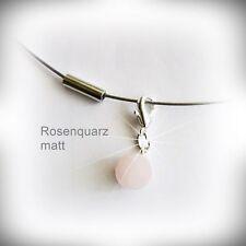 Echte Edelstein-Halsketten & -Anhänger aus Edelstahl mit Rosenquarz