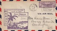 US First Flight Airmail San Diego Cal. Route Plane Slogan 1932 Stamp Cover 48443