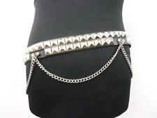 """Cadena De Cuero Unisex Vintage tachonado cinturón negro 41"""" grado a BA434"""