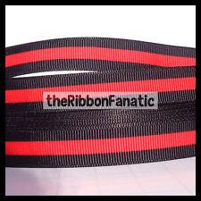 "3 yds 7/8"" Thin Red Line Fire Fighter Lives Matter Black Blue Grosgrain Ribbon"