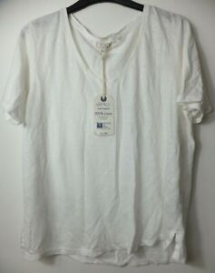 New Women's FatFace White Layla Linen Short Sleeve Top UK 14 RRP £39.50