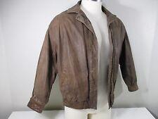 Vintage Bomber Jacket sz M/L Big Short 100% Leather Aviator Brown Distressed