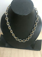 """Designer Inspired Two Tone 925 Sterling Silver Large 17mm Oval Link Necklace 18"""""""