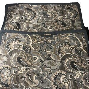 Pillow Shams Standard Set Of 2 Gray Beige Paisley Light Tapestry Polyester Lined