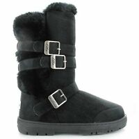Ella Crystal Black Ladies Vegan Boots 3 Buckles High Calf Fax Fur Boot