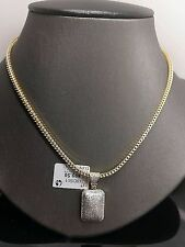 10k Oro Amarillo 0.51ct Diamante Domo Charm, Colgante With 61cm Cadena Franco