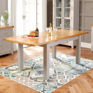 Downton Grey Painted Extending Dining Table with Oak Top - 6 Person Seater DT45