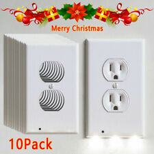 5/10/20X Wall Outlet Plug Cover Plate Led Night Light Sensor Auto On/Off Socket