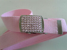 """WN40 1.25"""" WIDE SOLID PINK CANVAS ARMY STYLE BELT W/PINK RHINESTONE BUCKLE"""