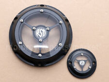 BLACK Edge Cut Clarity Derby Cover + Timer Covers For Harley 04-16 XL SPORTSTER