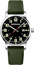 Wenger Men's 01.1641.112 Avenue Black Dial Green Silicone Strap Swiss Made Watch