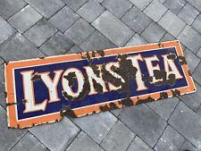 Lyons tea enamel sign advertising mancave garage metal vintage Old Bar