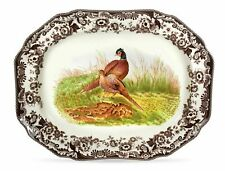 "SPODE WOODLAND PHEASANT 19"" LARGE SERVING PLATTER OCTAGONAL NEW"