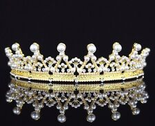 Dignity Pearls & Austrian Crystal Rhinestones Tiara Crown Bridal Prom Party T36