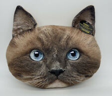 "Ragdoll Plush Pillow Cat Face Ragdoll 15"" Nwt Expressions"
