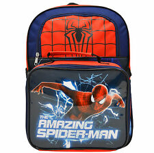 """SALE Backpack 14/"""" Marvel Heroes The Amazing Spiderman Boy Blue Red New"""