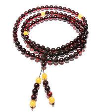 Genuine Baltic Amber Buddhist Mala Bracelet Mila 108 Beads Prayer Cherry